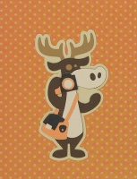 Card - Moose with camera - Orange